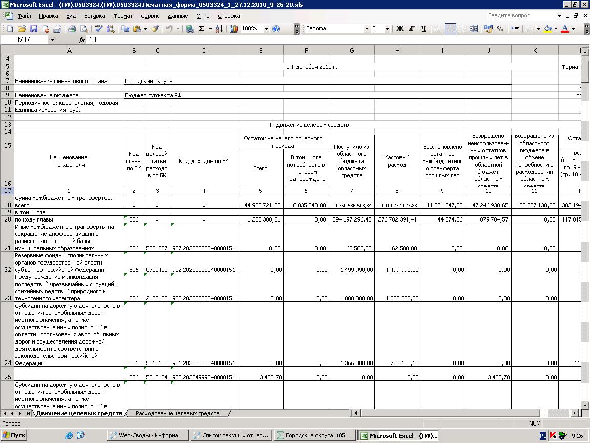 форма 0503324 отчет об исполнении бюджетной трансфертов